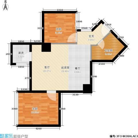 东方银座 东方银座2期2室0厅1卫1厨68.00㎡户型图