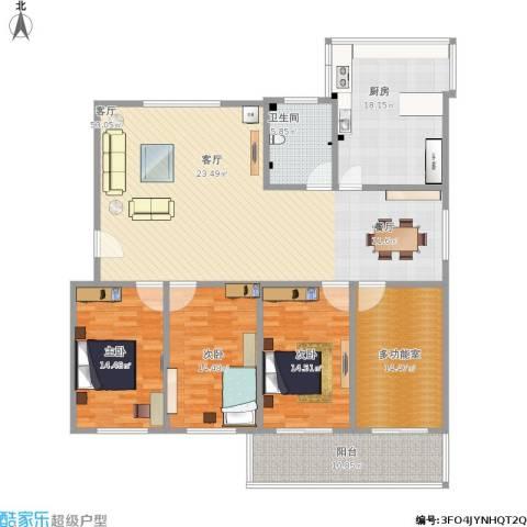 赵庄公寓3室1厅1卫1厨201.00㎡户型图