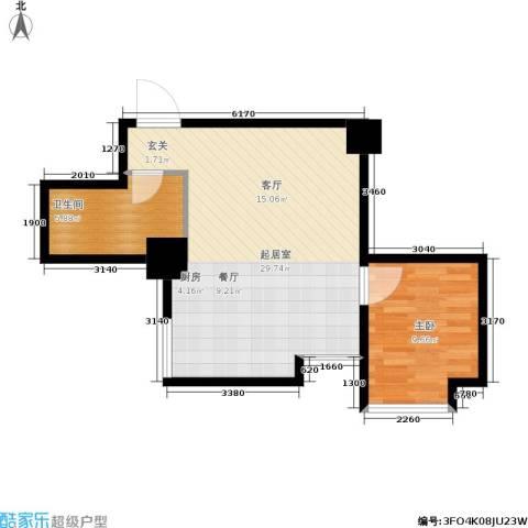 东方银座 东方银座2期1室0厅1卫0厨51.00㎡户型图