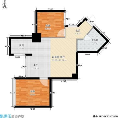 东方银座 东方银座2期2室0厅1卫0厨68.00㎡户型图