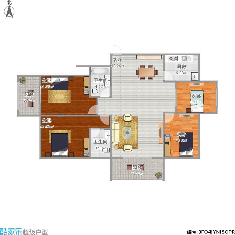 黄金海岸B型四室两厅两卫152的户型图