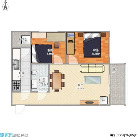 华龙苑北里2室1厅1卫1厨85.00㎡户型图