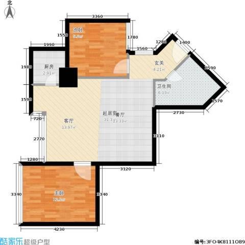东方银座 东方银座2期2室0厅1卫1厨70.00㎡户型图