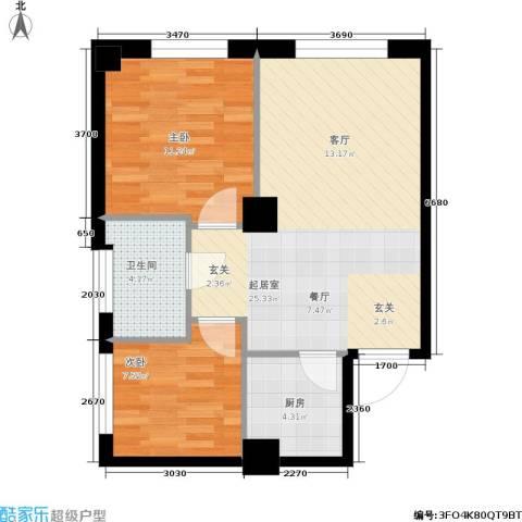 达人社馆2室0厅1卫1厨60.00㎡户型图