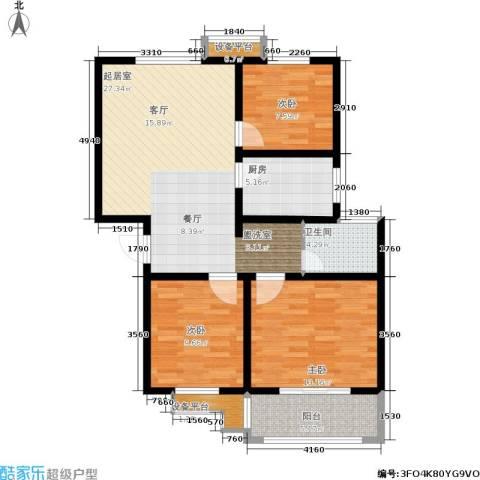 复兴园3室0厅1卫1厨85.00㎡户型图