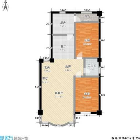 东大智慧鑫园2室1厅1卫1厨128.00㎡户型图