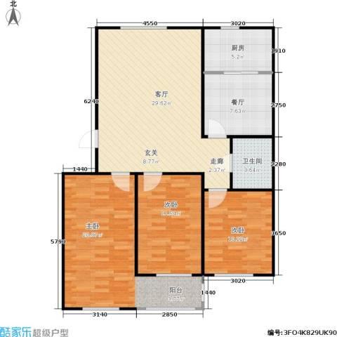 绿景园3室2厅1卫1厨95.00㎡户型图