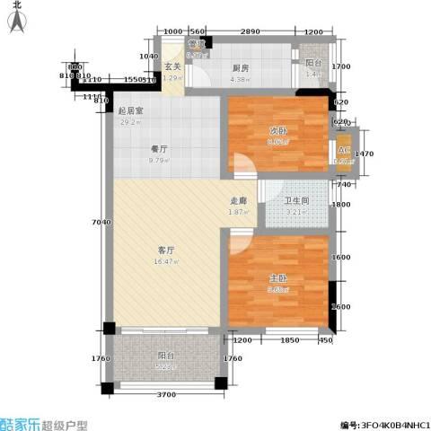 万科金域华府2室0厅1卫1厨91.00㎡户型图