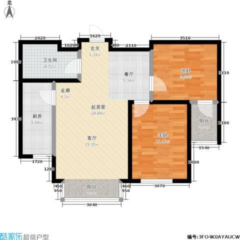 明城嘉苑2室0厅1卫1厨88.00㎡户型图