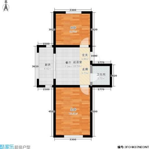 宏颐泷园2室0厅1卫1厨48.00㎡户型图