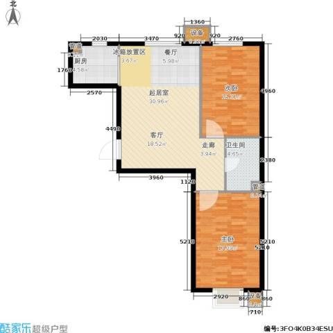 中房上东花墅二期2室0厅1卫1厨80.00㎡户型图