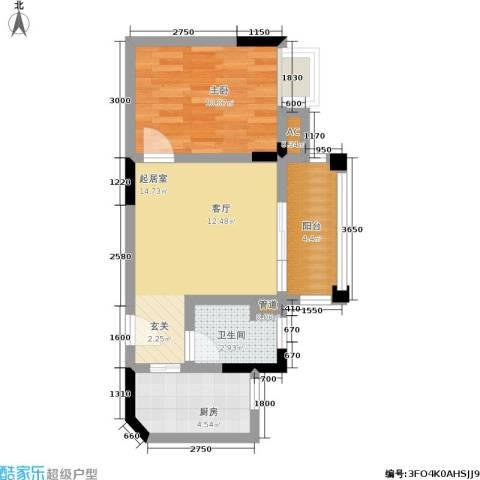 万科金域华府1室0厅1卫1厨56.00㎡户型图