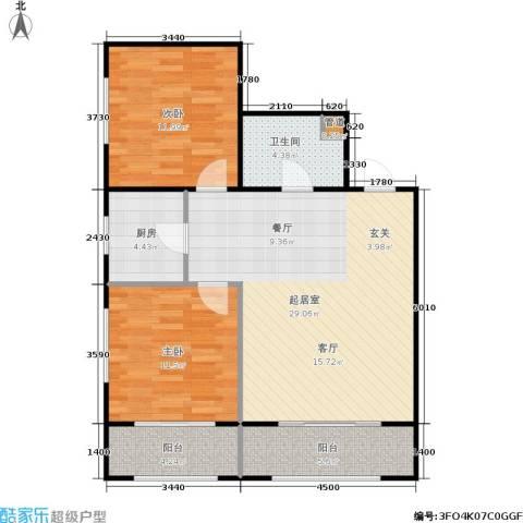 宏伟茗都三期2室0厅1卫1厨77.00㎡户型图