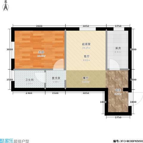 千缘爱在城1室0厅1卫1厨52.00㎡户型图