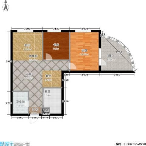 东方星海2室1厅1卫1厨113.00㎡户型图
