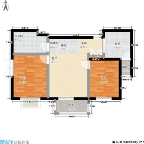 百合阳光2室1厅1卫1厨85.00㎡户型图