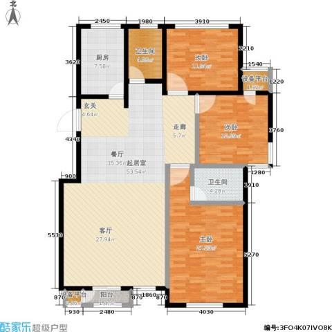世代龙城3室0厅2卫1厨133.00㎡户型图