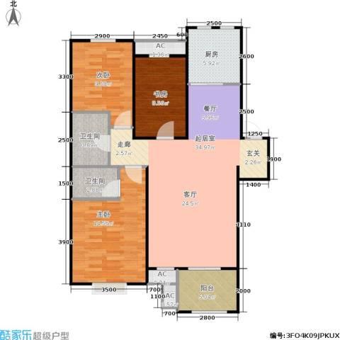 阳光洛可可3室0厅2卫1厨90.00㎡户型图