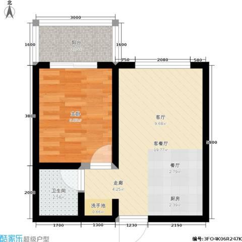 华城万象2期-彩虹城1室1厅1卫0厨42.00㎡户型图