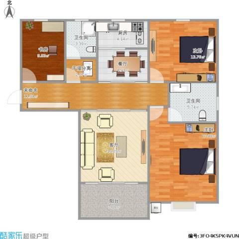东方今典中央城3室2厅2卫1厨101.00㎡户型图