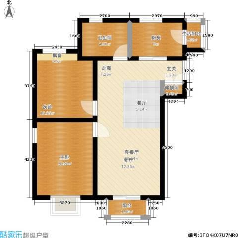 百合阳光2室1厅1卫1厨89.00㎡户型图