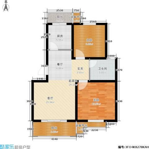 复兴园2室0厅1卫1厨81.00㎡户型图