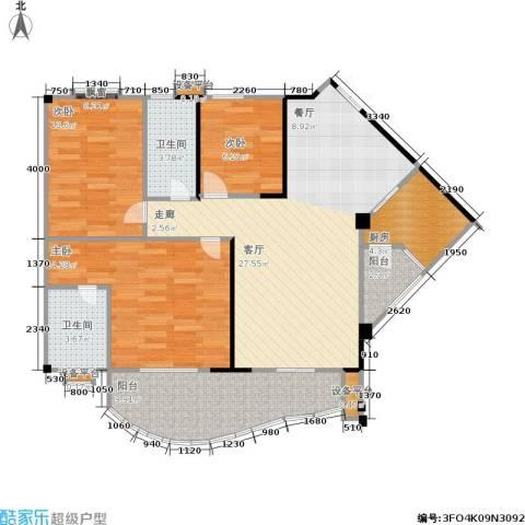 华宇・金沙港湾3室1厅2卫1厨91.00㎡户型图
