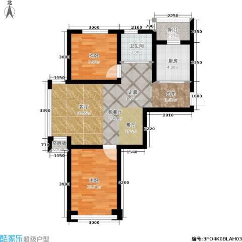 金沙水木城典2室1厅1卫1厨71.00㎡户型图