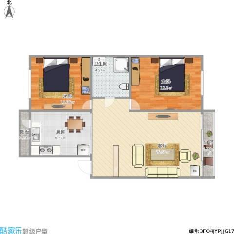 南方花园2室1厅1卫1厨89.00㎡户型图