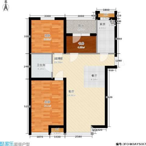 保利花园第六区3室0厅1卫1厨92.00㎡户型图