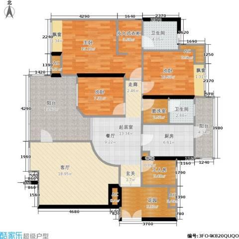 时代玫瑰园3室1厅2卫1厨129.00㎡户型图