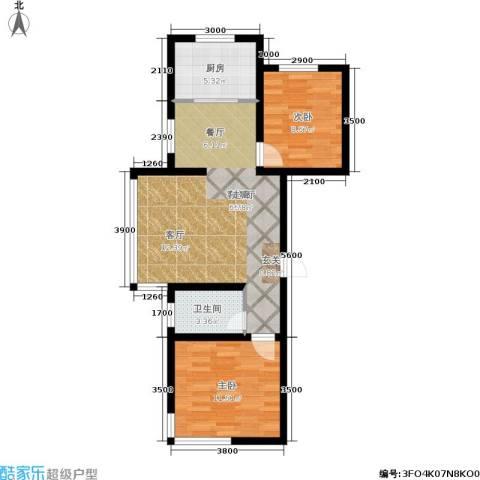 金鼎阳光苑2室1厅1卫1厨86.00㎡户型图