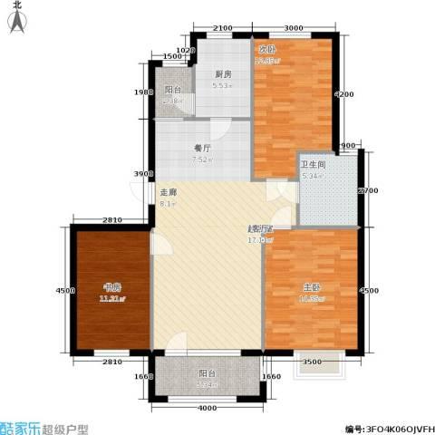 保利花园第六区3室0厅1卫1厨106.00㎡户型图