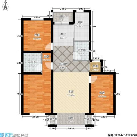 金沙水木城典3室1厅2卫1厨129.00㎡户型图