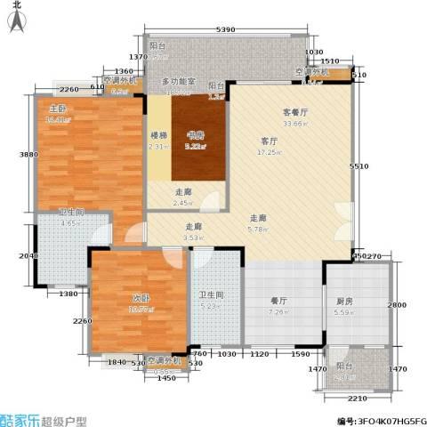 福江・名城 名城2室1厅2卫1厨97.53㎡户型图