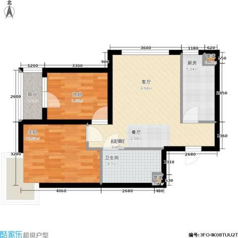 保利花园第六区2室0厅1卫1厨70.00㎡户型图