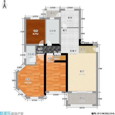 罗曼・松鼠湾3室1厅2卫1厨86.00㎡户型图