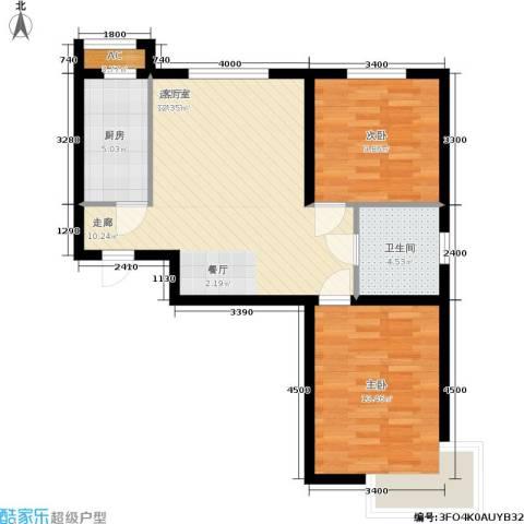 保利花园第六区2室0厅1卫1厨78.00㎡户型图