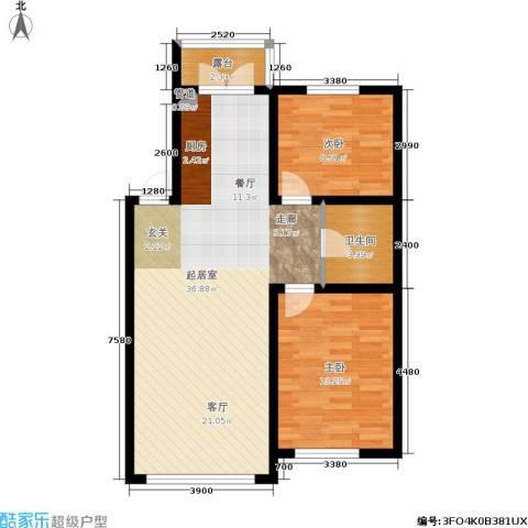 罗曼・松鼠湾2室0厅1卫0厨92.00㎡户型图