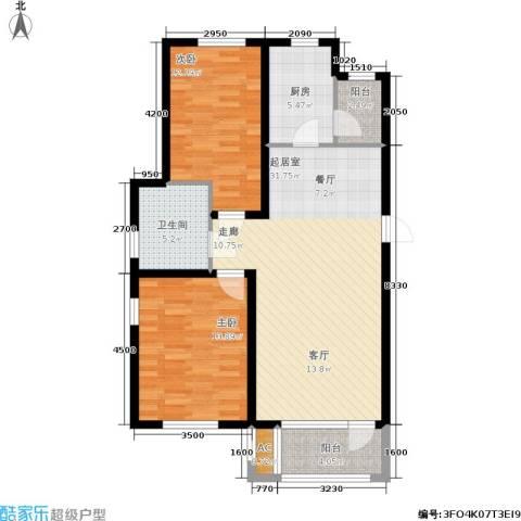 保利花园第六区2室0厅1卫1厨95.00㎡户型图