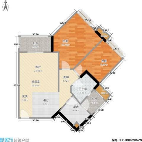 时代玫瑰园2室0厅1卫1厨72.00㎡户型图
