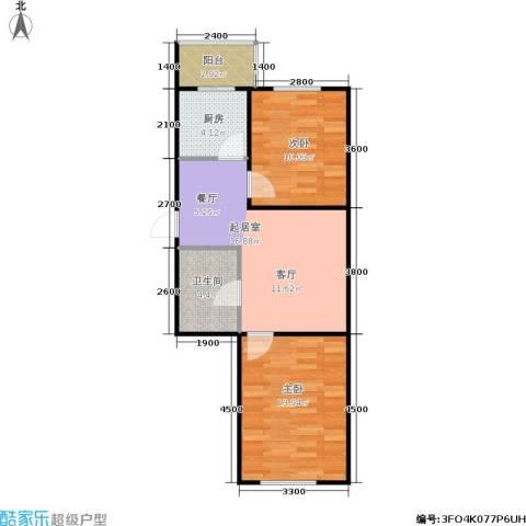 春城小院二期2室0厅1卫1厨66.00㎡户型图
