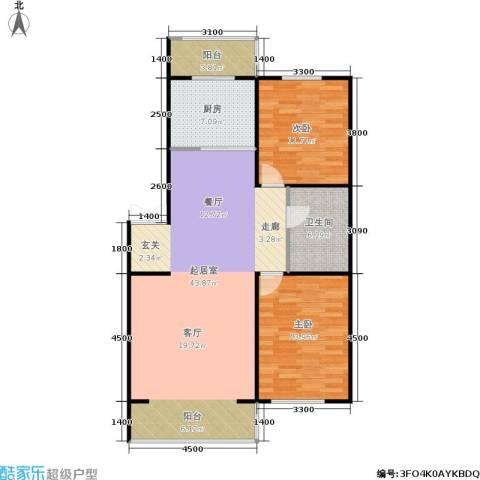 春城小院二期2室0厅1卫1厨86.64㎡户型图