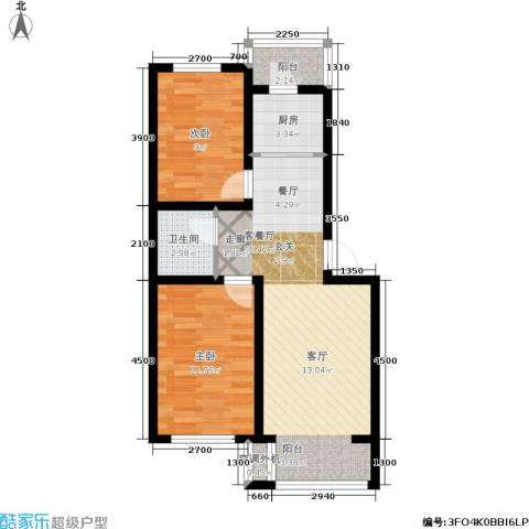 金沙水木城典2室1厅1卫1厨74.00㎡户型图