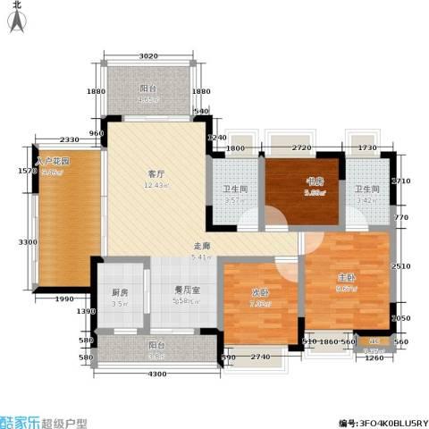 城投・七里香榭3室0厅2卫1厨90.00㎡户型图