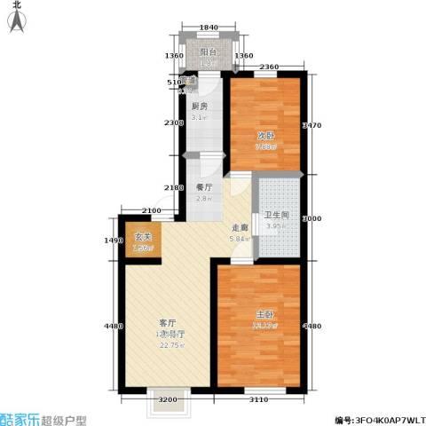 福隆雅居2室1厅1卫1厨76.00㎡户型图