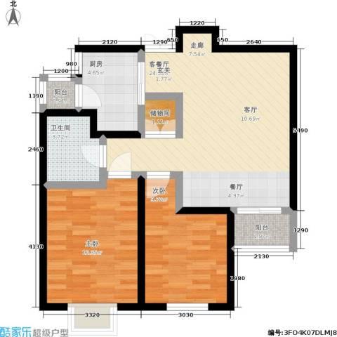 百合阳光2室1厅1卫1厨87.00㎡户型图