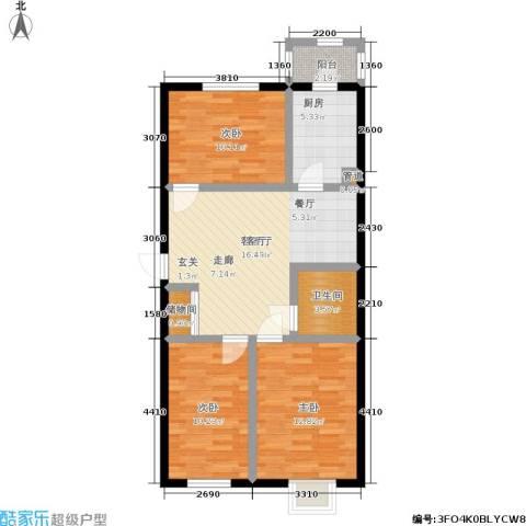 福隆雅居3室1厅1卫1厨95.00㎡户型图