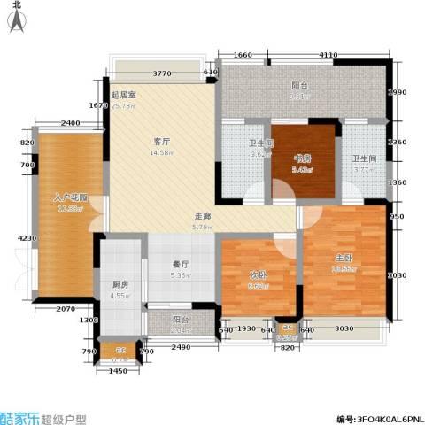 城投・七里香榭3室0厅2卫1厨100.00㎡户型图