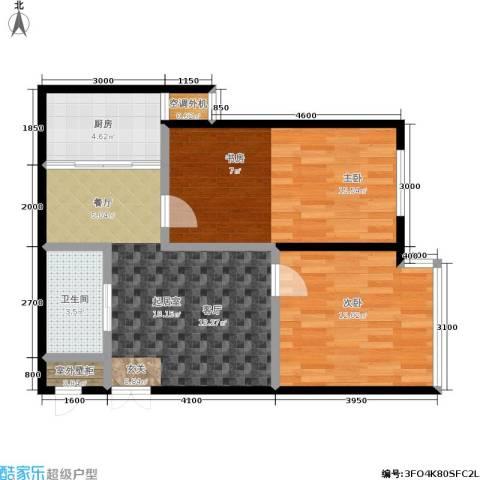 世博・吾派2室0厅1卫1厨79.00㎡户型图